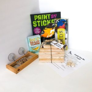 bird feeder, bird guide, bird house, and more things from the junior bird watching gift set