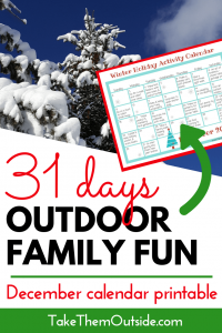 A snow covered tree and an image of a printable december outdoor activity calendar