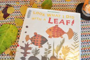 The book, look what I did with a leaf! sitting on a table surrounded by dried leaves