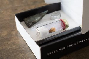 rock, scientific artifacts, and such delivered in the monthly subscription box Matter
