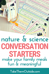 image of printable nature family conversation starters, some cut and sitting in a jar on a wooden table