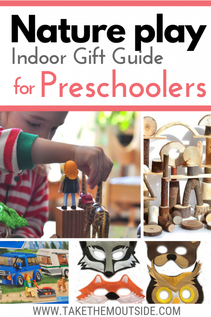 Images of animal and nature toys, text reads nature play indoor gift guide for preschoolers
