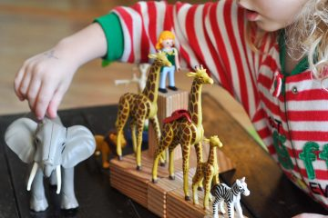 a preschoooler playing with playmobil animal toys