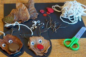 dried leaf reindeer ornaments