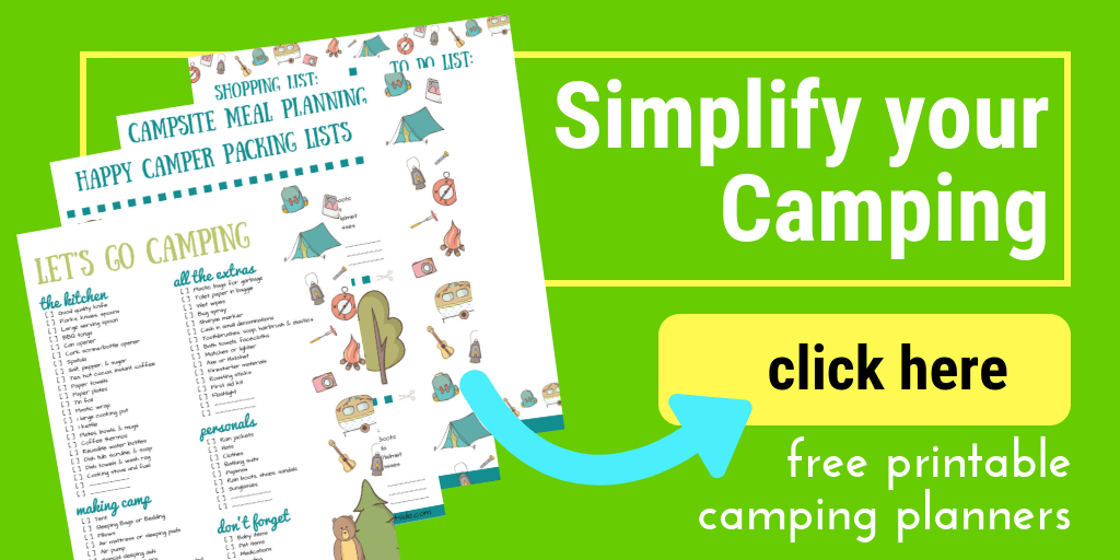 image of printable camping checklist and planner pages