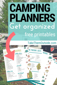 images of printable camping packing list and meal planner