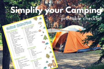 an image of a camping checklist against the backdrop of an orange camping tent