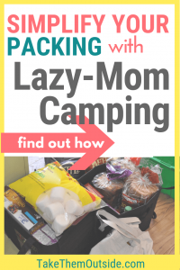 camping food being packed simply into bags and tubs