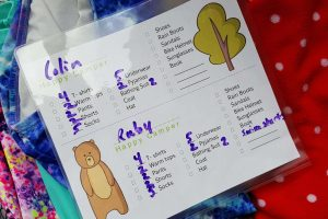 a kids camping checklist to help them pack their own clothes and items