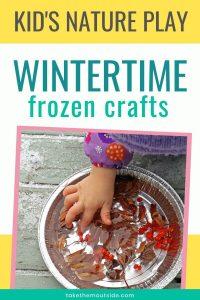 a toddler's hand making frozen sun catchers