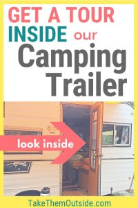 a vintage camper with the door open, text overlay reads get a tour inside our camping trailer