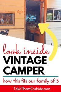 a vintage camper with the door open. text overlay reads looks inside vintage camper
