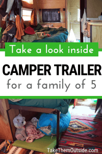 images of the messy sleeping area of a small rv camper trailer, text overlay reads take a look inside camper trailer