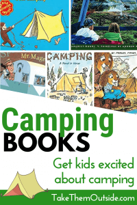 a collection of various kids books about camping