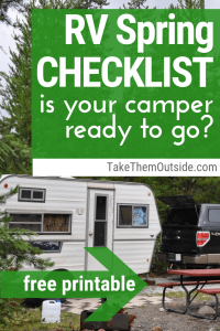 a camper trailer at the campground, text reads RV Spring Checklist
