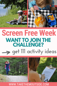 families doing screen free activities outdoors