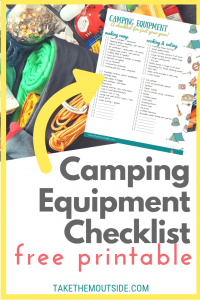 Pile of camping gear with text overlay reading camping equipment checklist