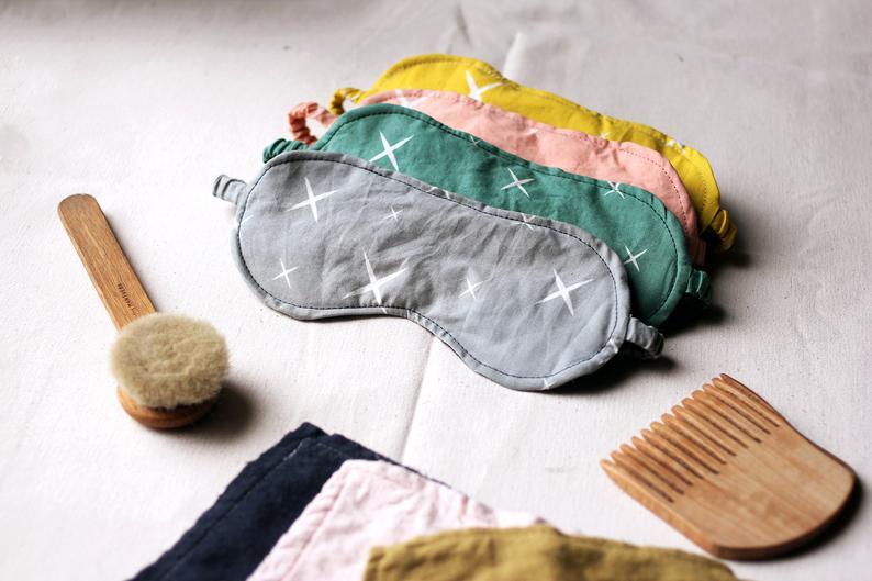 4 handmade cotton eye masks available on etsy