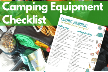 A pile of camping equipment with an image of a printable camping checklist