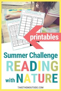 young girl reading a book laying on a towel at the beach and image of printable summer reading challenge