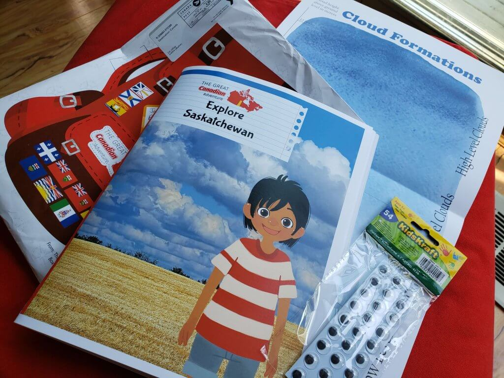 Inside the Great Canadian Adventure Package we received the Explore Saskatchewan booklet, a clouds activity craft, and more