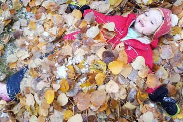 A toddler playing outside in the leaves during the fall