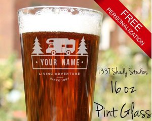 A personalized RV Pint Glass full of beer