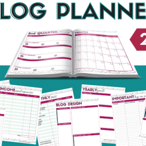 Images of printable blog planner pages