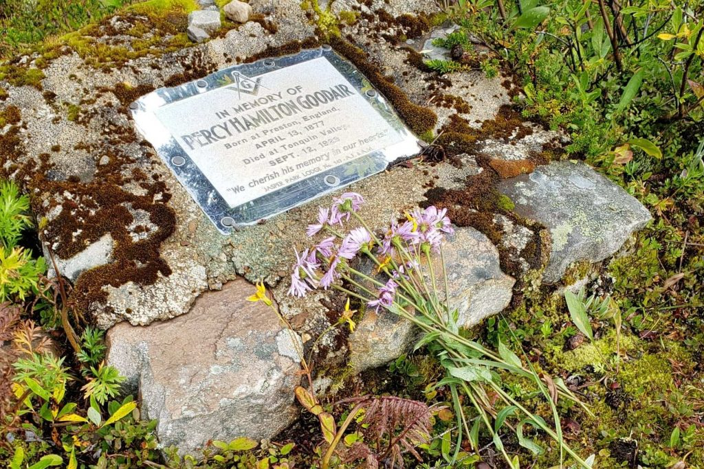 The grave site of Warden Percy Goodair in the Tonquin Valley of Jasper National Park