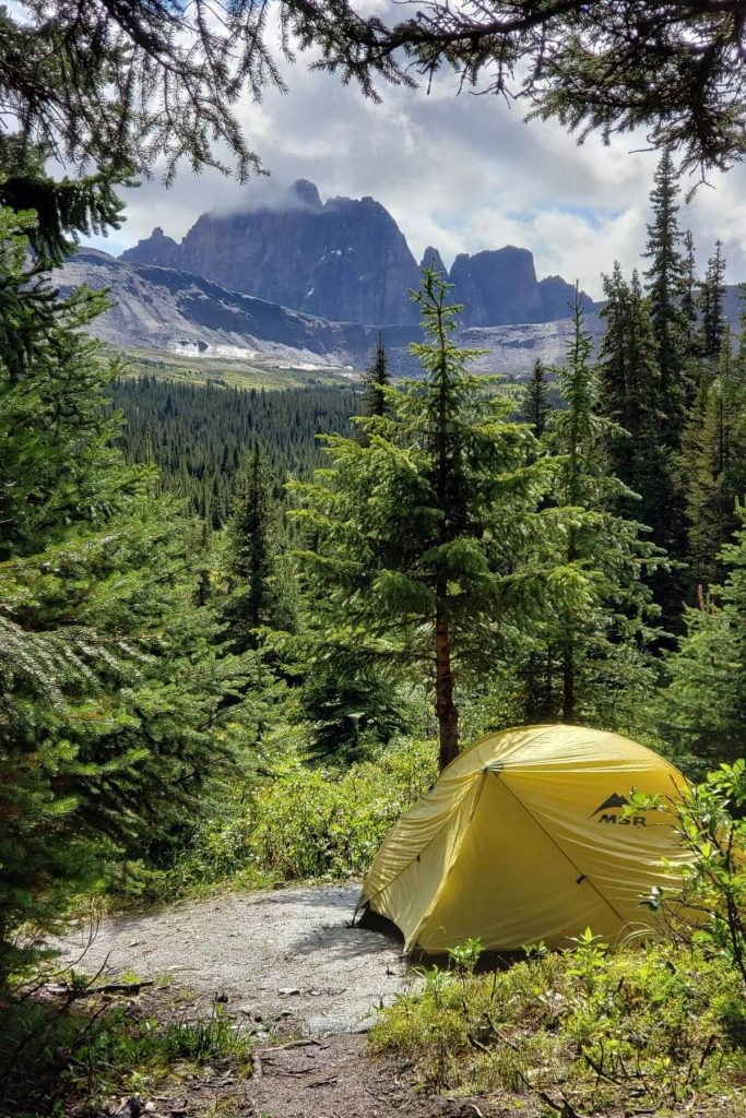 A yellow tent with mountain peeks in the background at Portal Campground