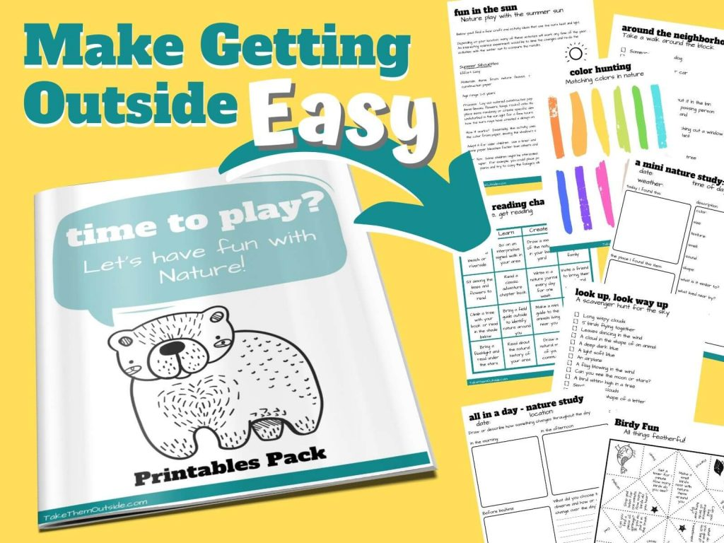 images of pages from the play outside guide printable package