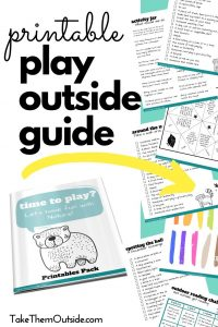 cover image of play outside guide and inside pages of this printable activity book