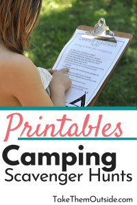 a young girl holding a printed camping scavenger hunt on a clipboard