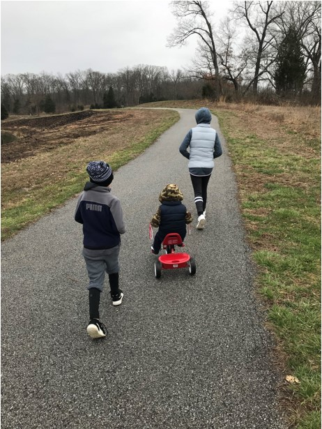 kids out for a walk on a cool dreary day