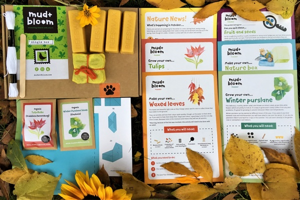 items found in a mud and blooms nature activity box