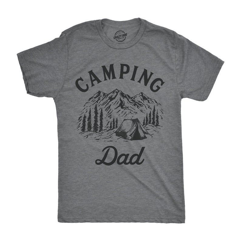 grey t shirt that reads camping dad