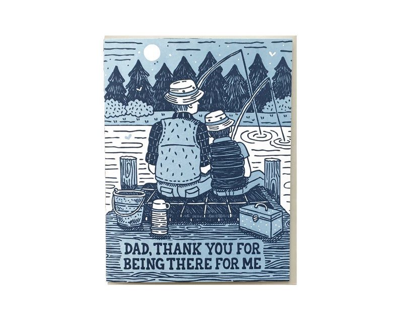 image of father's day card, a father and son fishing together in blues