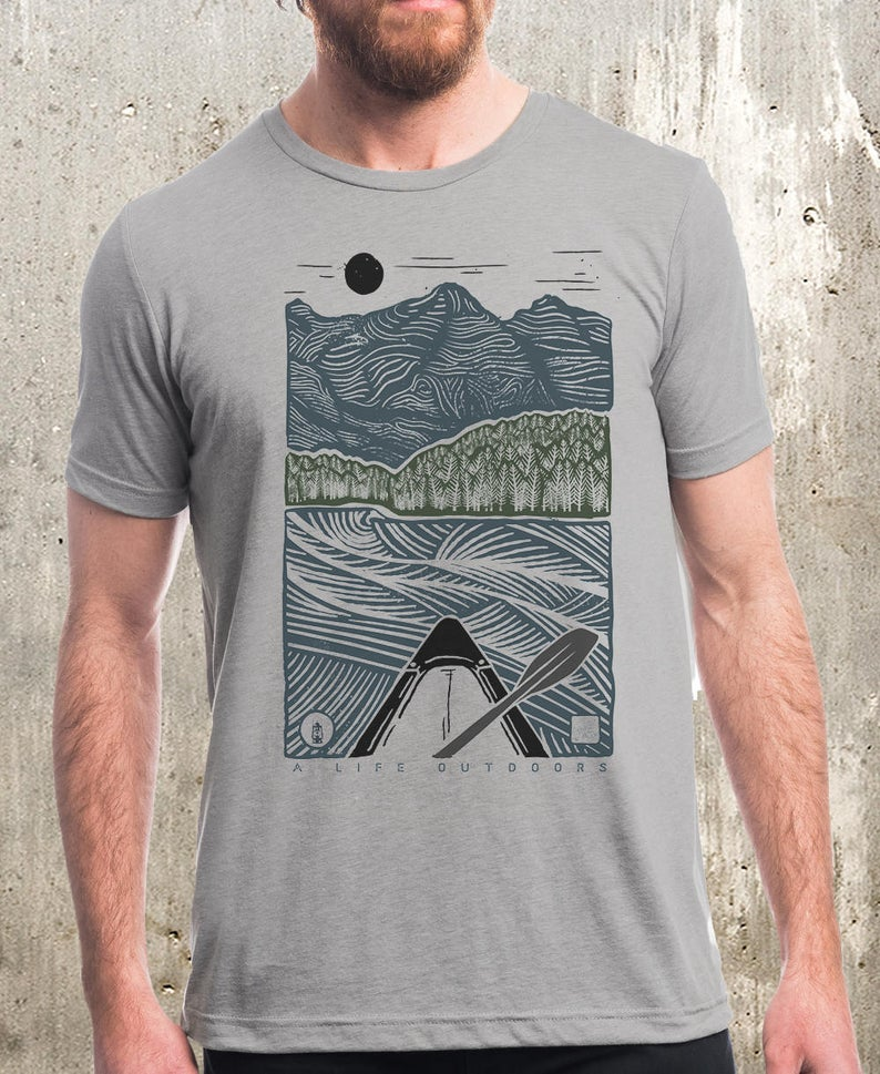 men's t shirt with paddling and mountain artwork