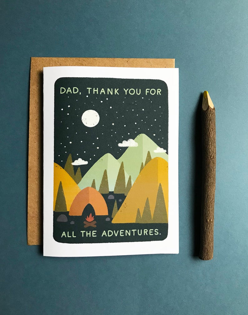 image of father's day card, dark sky with mountains