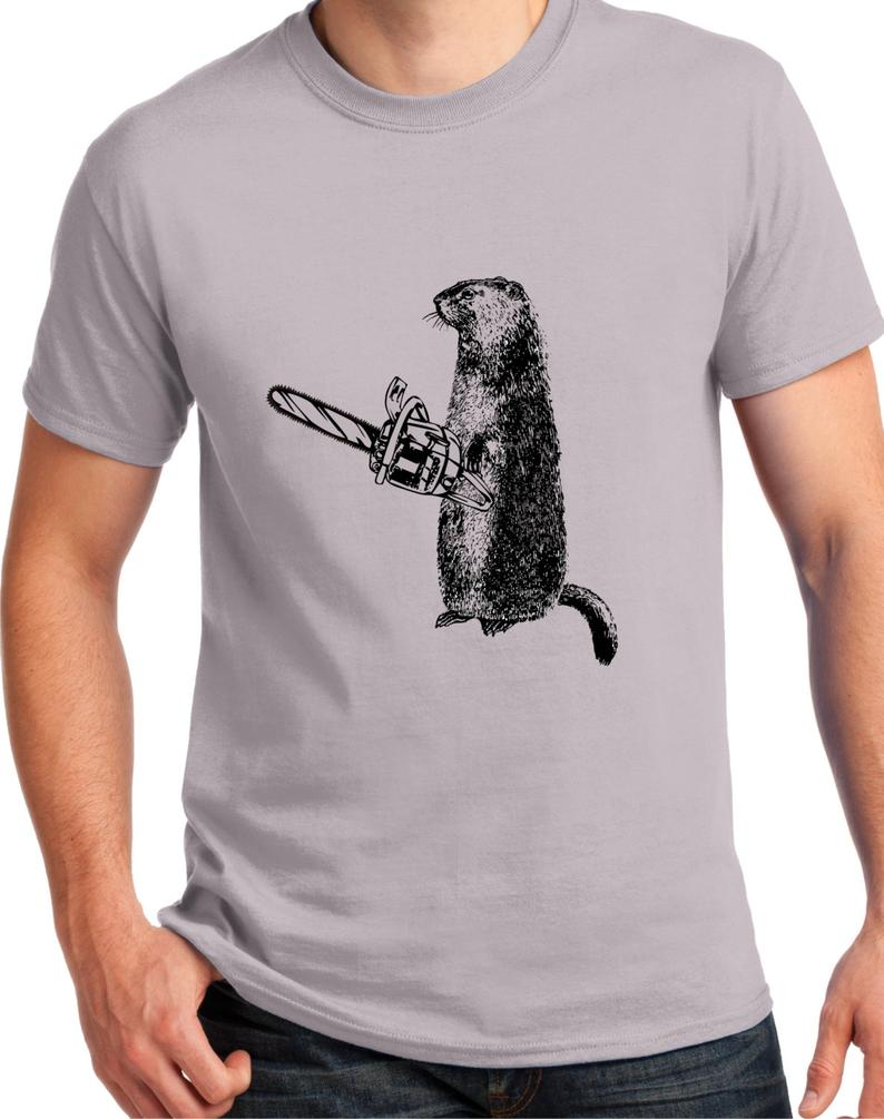 woodchuck holding a chainsaw t shirt for men