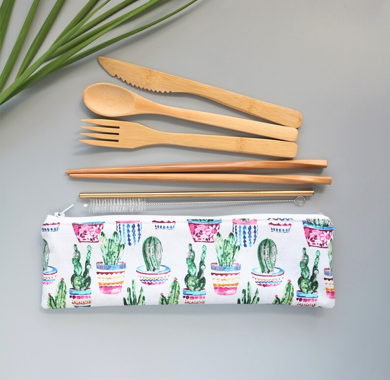 reusable bamboo cutlery and reusable straw, cactus zippered pouch