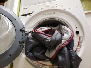 washing a sleeping bag in a front load washer