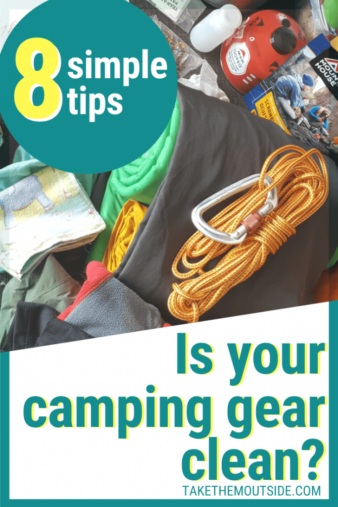 Image of camping gear, text overlay reads is your camping gear clean