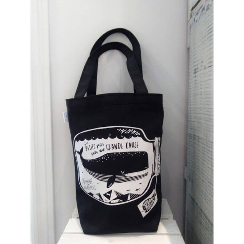 reusable shopping bag with a whale on it