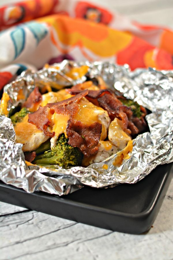 chicken, broccoli, bacon, and cheese cooked in a foil pack