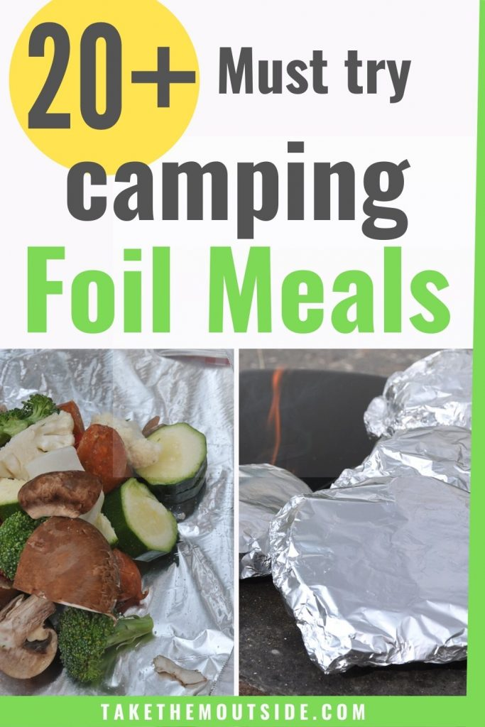 getting foil packs ready to cook over the campfire
