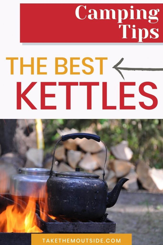 camping tea kettles sitting on a grill over a campfire