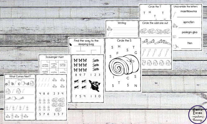 image of printable camping learning worksheets