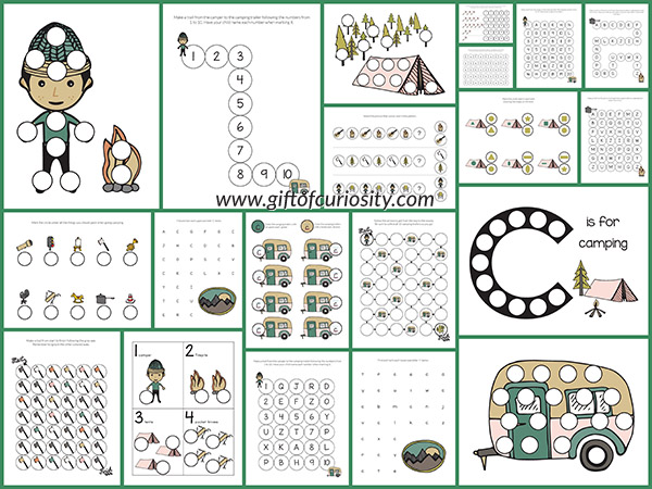 images of printable camping dot activities