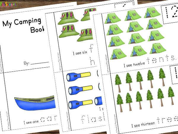 Printable camping counting flip book